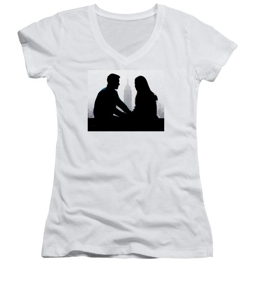 Women's V-Neck T-Shirt (Junior Cut) featuring the photograph Young Love     by Chris Lord