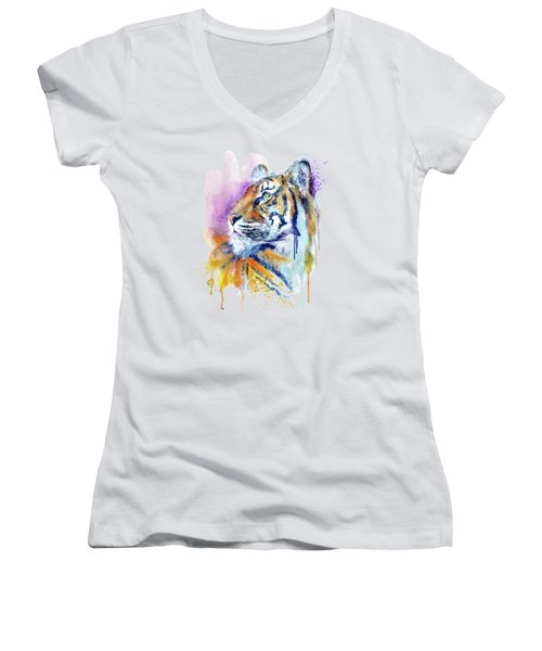 Young Tiger Portrait Women's V-Neck (Athletic Fit)