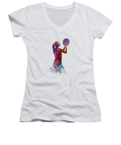 Young Woman Basketball Player 03 In Watercolor Women's V-Neck T-Shirt (Junior Cut) by Pablo Romero