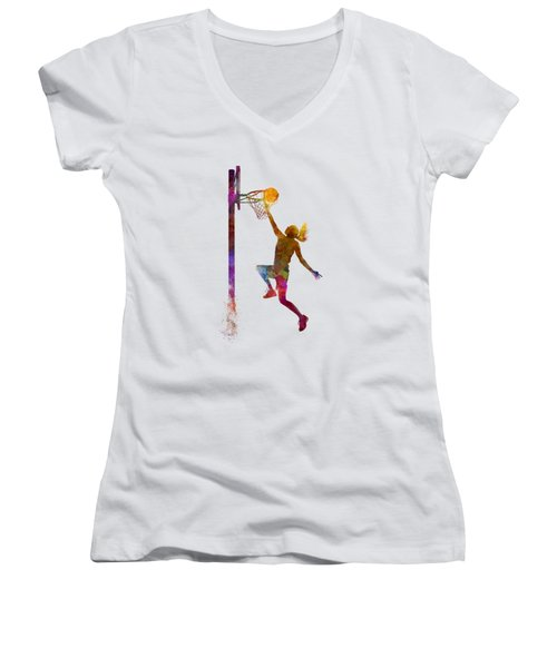 Young Woman Basketball Player 04 In Watercolor Women's V-Neck T-Shirt