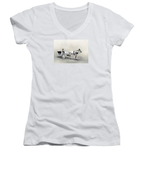 Your Carriage Awaits Women's V-Neck T-Shirt (Junior Cut) by David and Carol Kelly