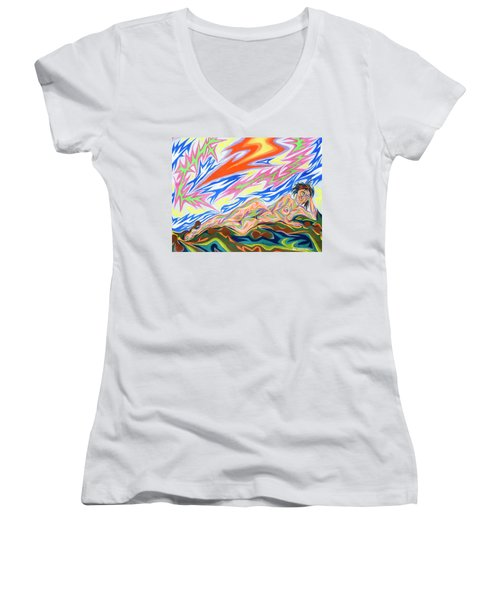 Zapped Women's V-Neck T-Shirt (Junior Cut) by Robert SORENSEN