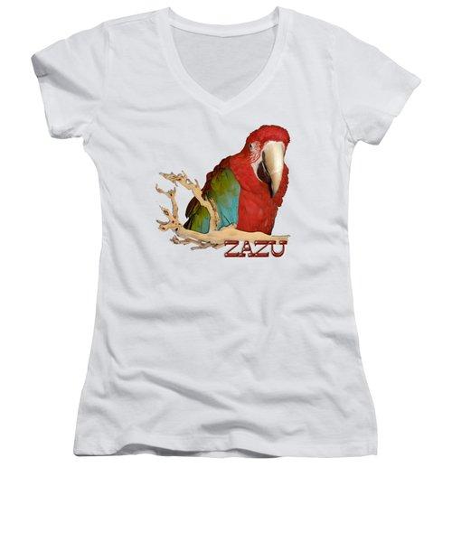 Zazu With Branch Women's V-Neck T-Shirt (Junior Cut) by Zazu's House Parrot Sanctuary