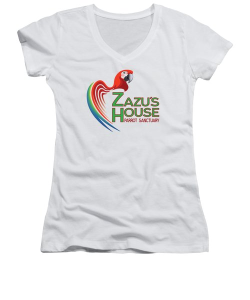 Zazu's House Parrot Sanctuary Women's V-Neck T-Shirt (Junior Cut) by Zazu's House Parrot Sanctuary