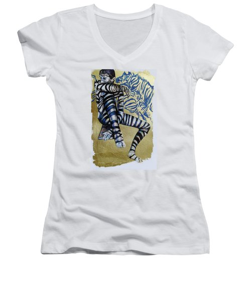 Zebra Boy The Lost Gold Drawing  Women's V-Neck