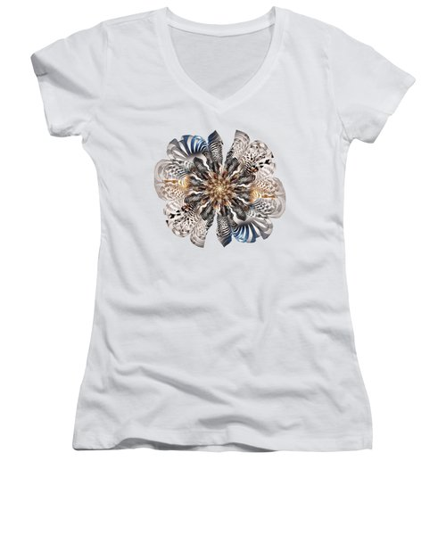 Zebra Flower Women's V-Neck T-Shirt
