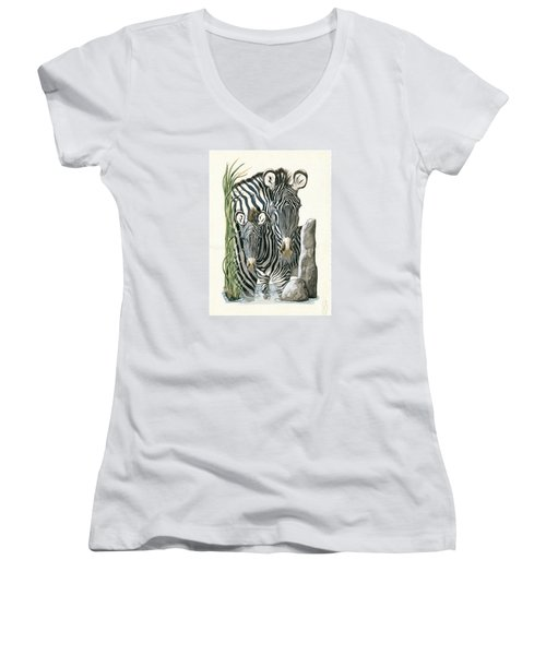 Zebra Mother And Colt Protect Our Children Painting Women's V-Neck
