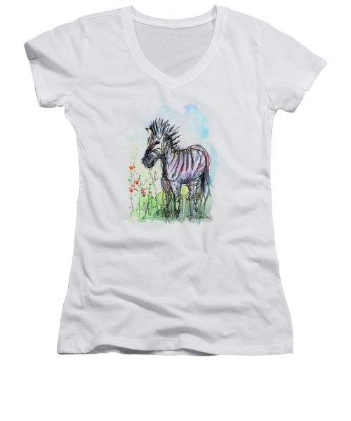 Zebra Painting Watercolor Sketch Women's V-Neck T-Shirt