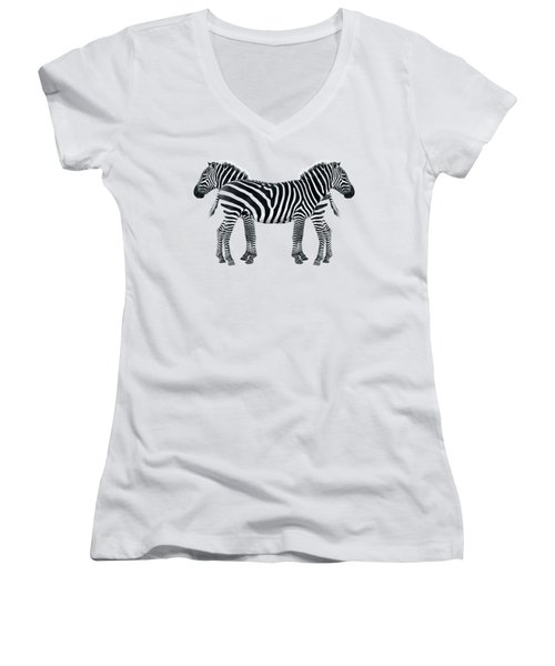 Zebra Pair On Black Women's V-Neck T-Shirt (Junior Cut) by Gill Billington