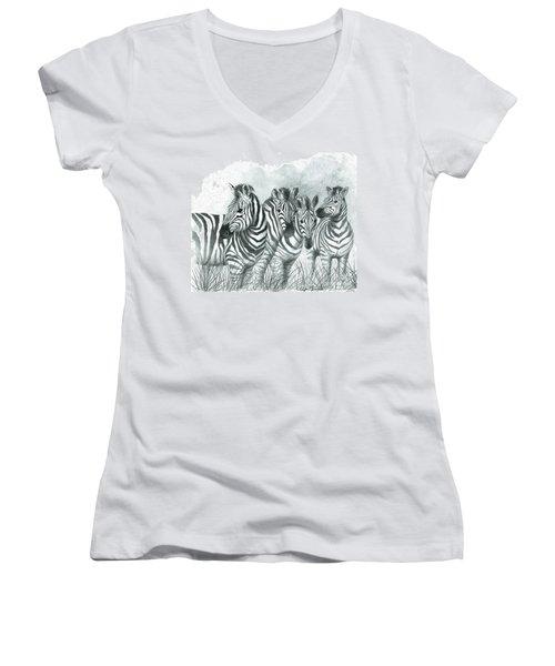 Zebra Quartet Women's V-Neck
