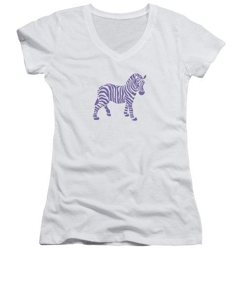 Zebra Stripes Pattern Women's V-Neck
