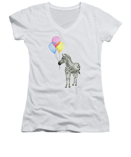 Zebra With Balloons Watercolor Whimsical Animal Women's V-Neck T-Shirt (Junior Cut)
