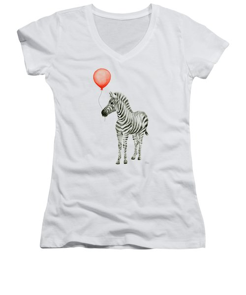 Zebra With Red Balloon Whimsical Baby Animals Women's V-Neck T-Shirt (Junior Cut) by Olga Shvartsur