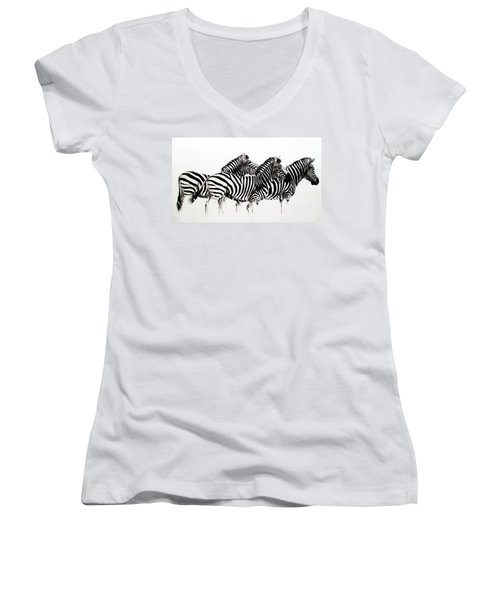 Zebras - Black And White Women's V-Neck (Athletic Fit)