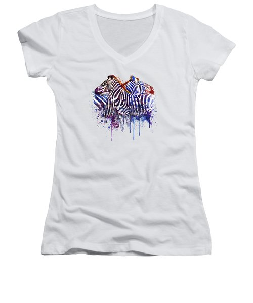 Zebras In Love Women's V-Neck T-Shirt