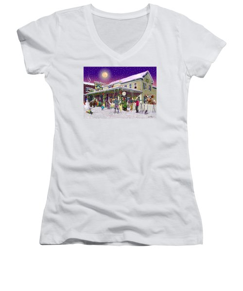 Zebs General Store In North Conway New Hampshire Women's V-Neck T-Shirt (Junior Cut) by Nancy Griswold