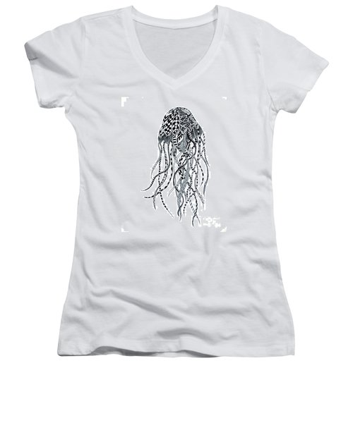 Women's V-Neck T-Shirt (Junior Cut) featuring the drawing Zen Jellyfish by Tamyra Crossley