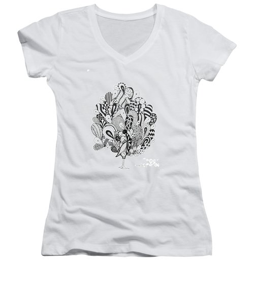 Zen Peacock Women's V-Neck T-Shirt