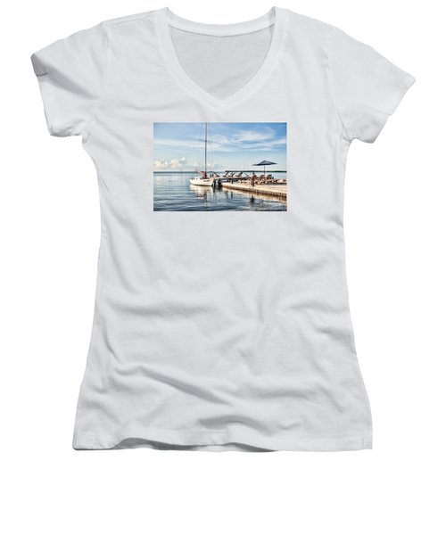 Women's V-Neck T-Shirt (Junior Cut) featuring the photograph Zen Say by Lawrence Burry