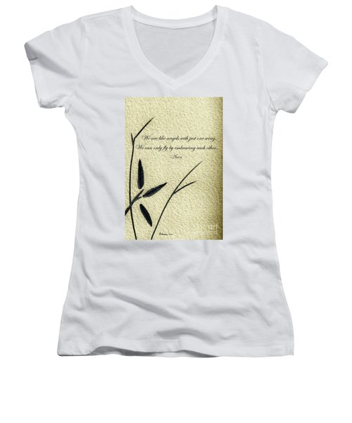 Zen Sumi 4d Antique Motivational Flower Ink On Watercolor Paper By Ricardos Women's V-Neck