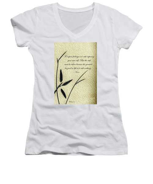 Zen Sumi 4m Antique Motivational Flower Ink On Watercolor Paper By Ricardos Women's V-Neck
