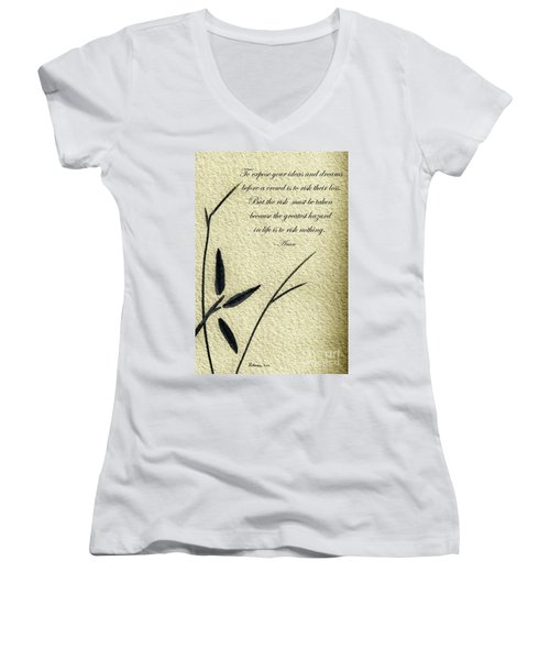 Zen Sumi 4n Antique Motivational Flower Ink On Watercolor Paper By Ricardos Women's V-Neck
