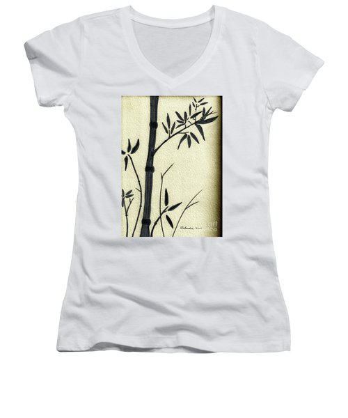 Zen Sumi Antique Bamboo 1a Black Ink On Fine Art Watercolor Paper By Ricardos Women's V-Neck