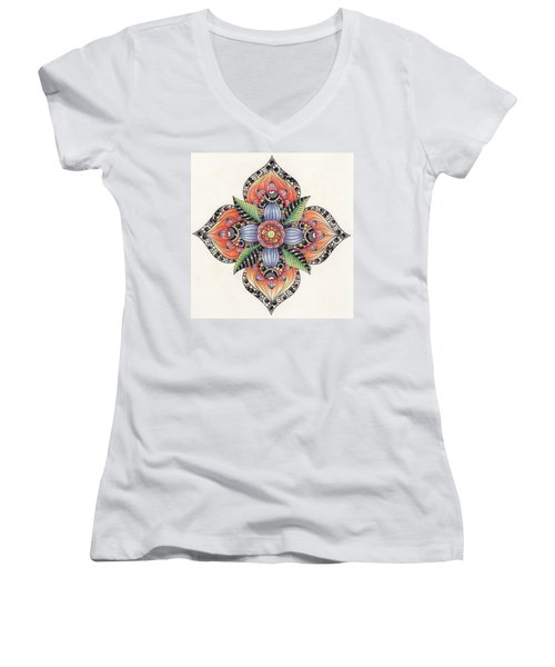 Zendala Template #1 Women's V-Neck T-Shirt (Junior Cut) by Jan Steinle