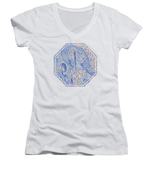 Zentangle Elephant-oil Women's V-Neck T-Shirt