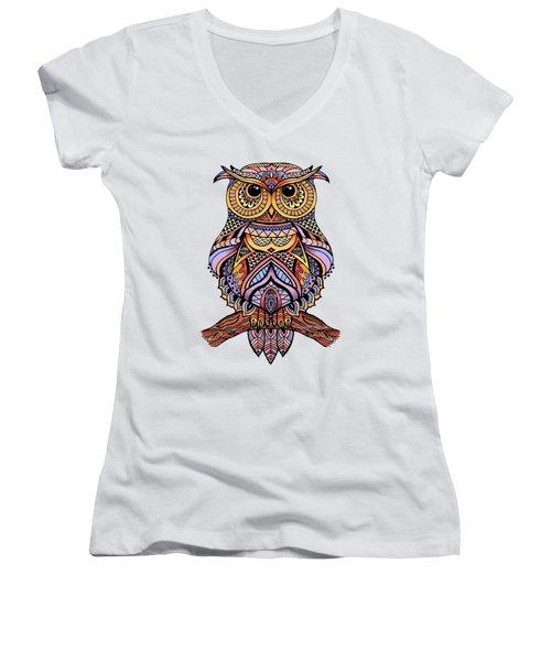 Zentangle Owl Women's V-Neck T-Shirt (Junior Cut) by Suzanne Schaefer