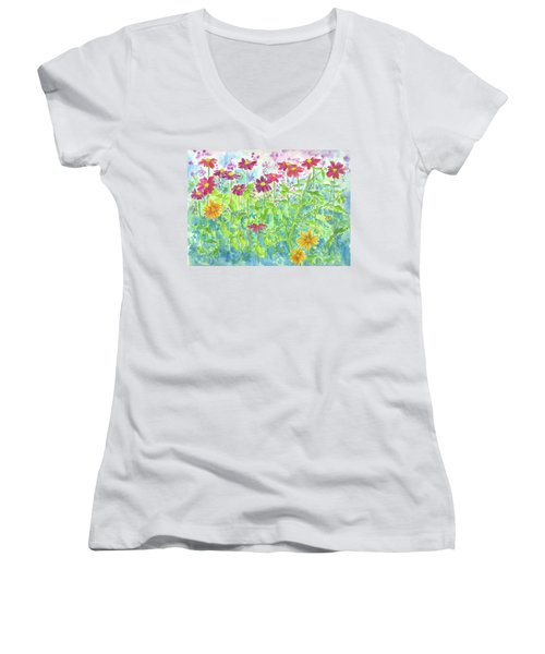Women's V-Neck T-Shirt (Junior Cut) featuring the painting Zinnias  by Cathie Richardson