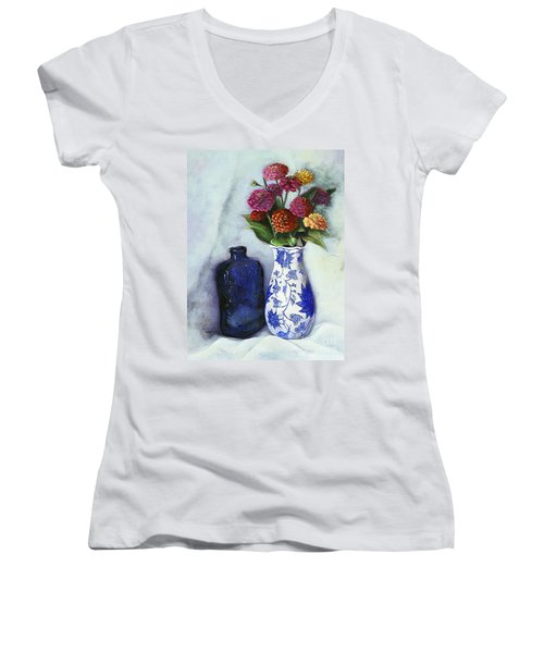 Women's V-Neck T-Shirt (Junior Cut) featuring the painting Zinnias With Blue Bottle by Marlene Book