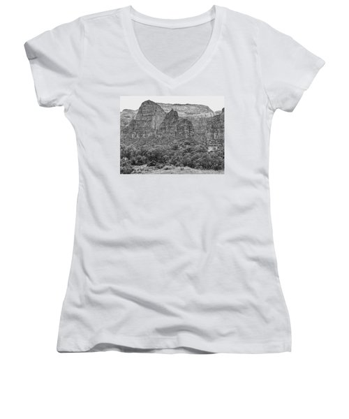 Zion Canyon Monochrome Women's V-Neck
