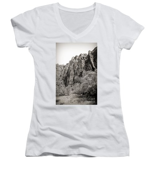 Zion National Park Sepia Tones  Women's V-Neck