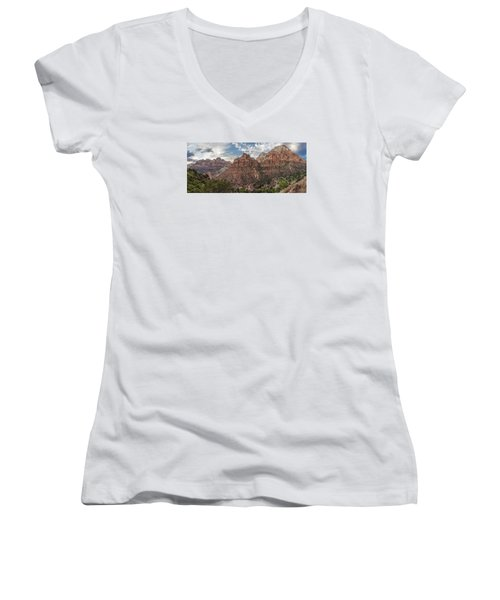Zion National Park Switchback Road Women's V-Neck (Athletic Fit)