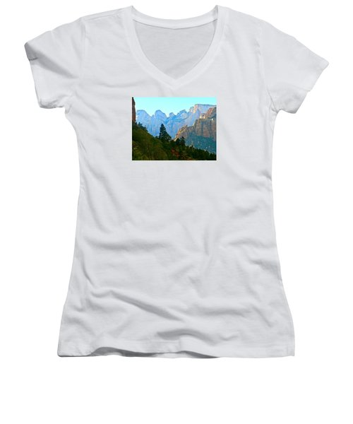 Zion's Hint Of Blue Women's V-Neck (Athletic Fit)