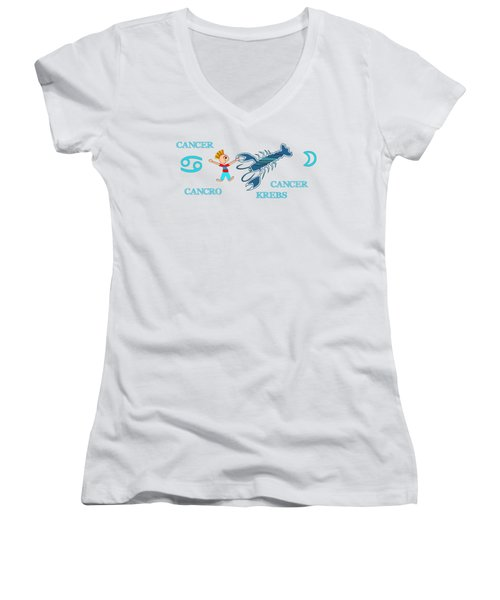Zodiac Sign Cancer Women's V-Neck T-Shirt