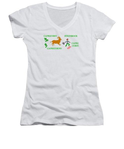 Zodiac Sign Capricorn Women's V-Neck T-Shirt
