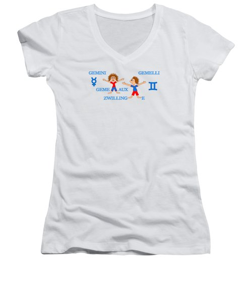 Zodiac Sign Gemini Women's V-Neck T-Shirt