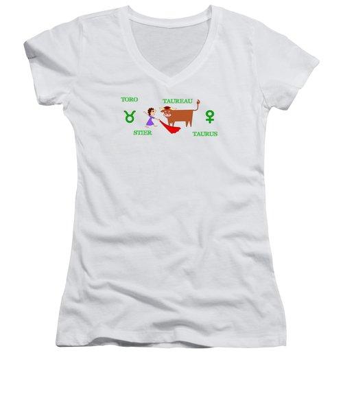 Zodiac Sign Taurus Women's V-Neck T-Shirt