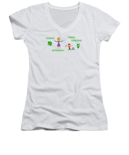 Zodiac Sign Virgo Women's V-Neck (Athletic Fit)