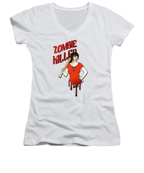 Zombie Killer Women's V-Neck (Athletic Fit)