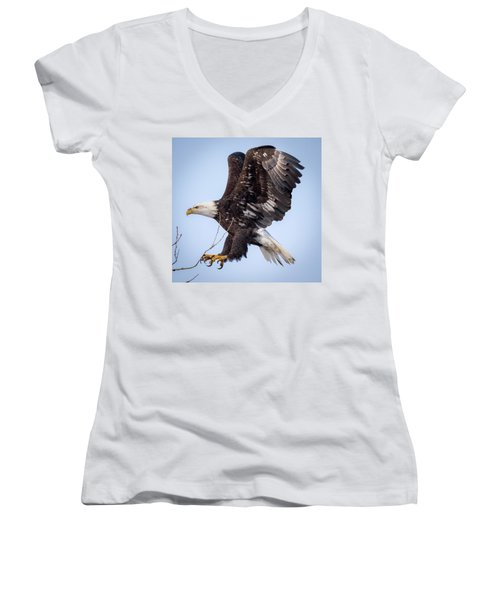 Eagle Coming In For A Landing Women's V-Neck