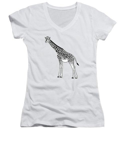 Giraffe - Ink Illustration Women's V-Neck