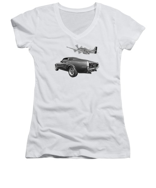 p51 With Bullitt Mustang Women's V-Neck