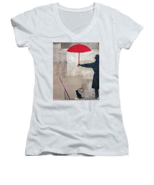 Paris Graffiti Man With Red Umbrella Women's V-Neck