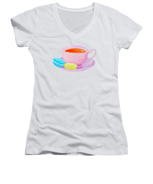 Tea And Macaroons Women's V-Neck (Athletic Fit)