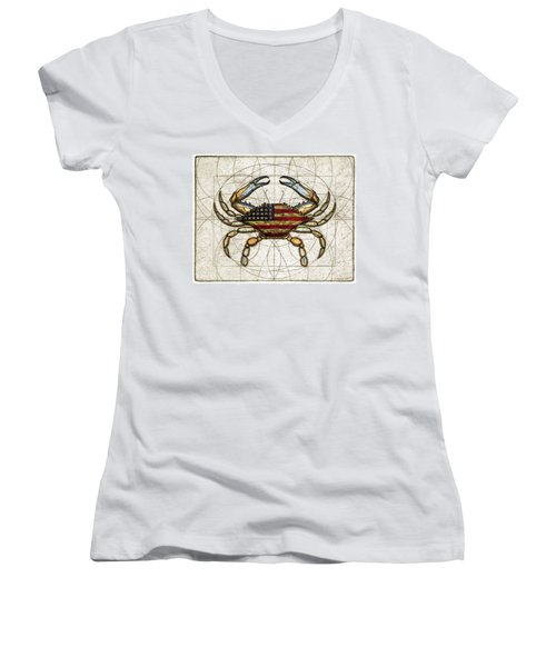 4th Of July Crab Women's V-Neck