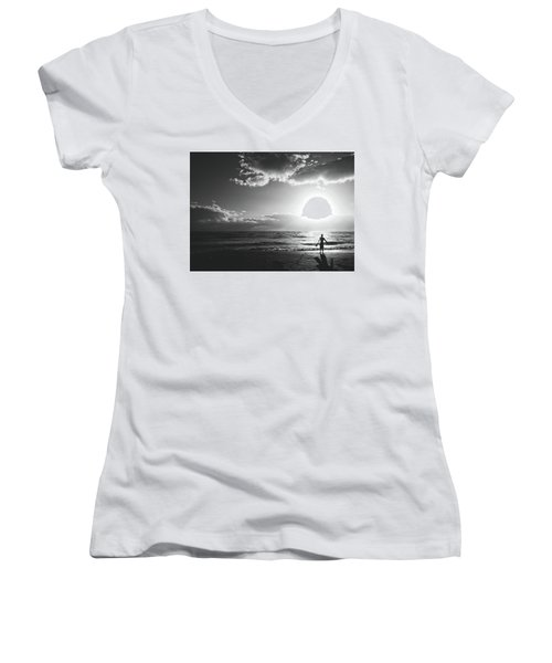 A Day Of Surfing Begins Women's V-Neck