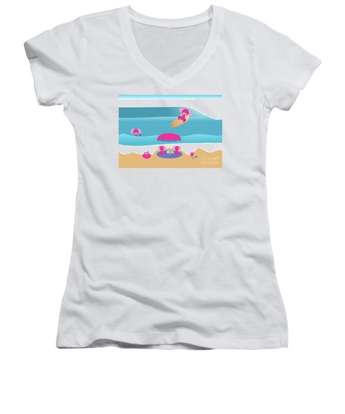 A Dog Family Surf Day Out Women's V-Neck